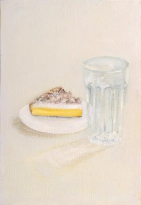 Painting entitled Pie and potential full glass